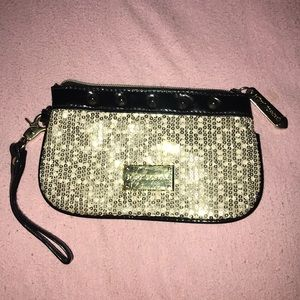 Betsey Johnson Black & Gold Sequin Wristlet